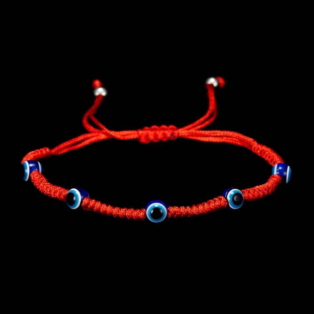 Creative ייחודי עיצוב מזל אדום חבל 5 חרוזים כחול עיני עין רעה אדום חבל ארוג מתכוונן צמיד קסמי תכשיטי חתונה מתנה