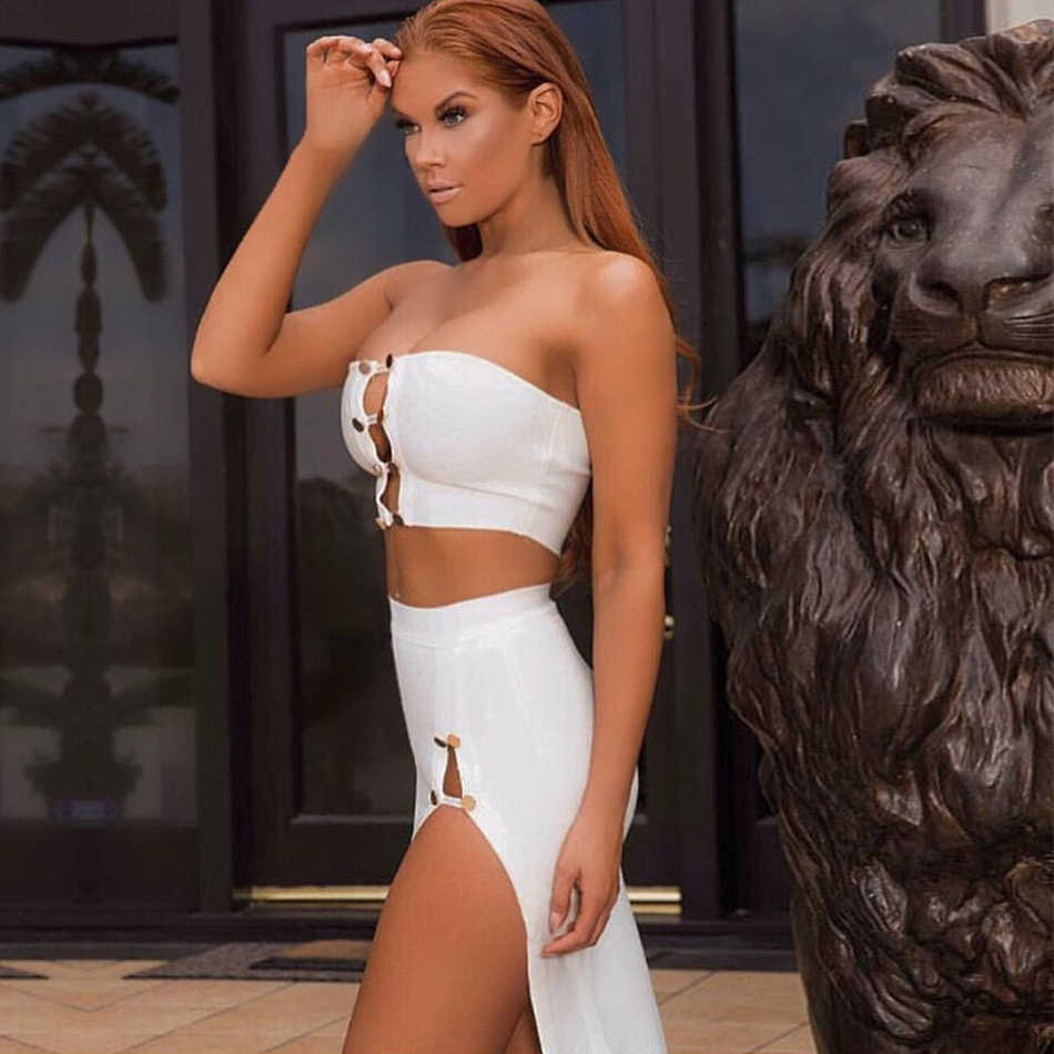 ADYCE 2019 New Summer Women White Bodycon Bandage 2 Two Pieces Sets Strapless Top&Skirts Hollow Out Celebrity Evening Party Sets