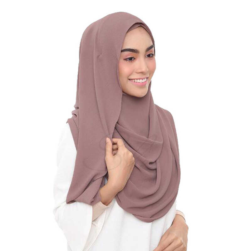 Doppio Anello Chiffon Hijab Sciarpa Femme Musulman Scialli E Impacchi Testa Sciarpe Foulard Musulmano Malaysia Hijab Femminile Foulard