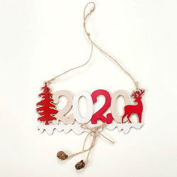 2020 Xmas Letters Elk Tree Wooden Sign Christmas Decoration for Home Pendant Hanging Ornament New 3