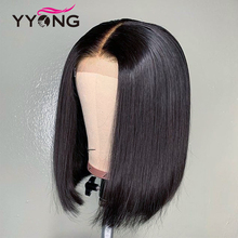 Yyong 13x4 Short Lace Front Human Hair Wigs For Black Women NaturalColor Malaysian Remy BoB Wig With Baby
