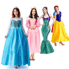 Adult Cosplay Gown Woman Ana Elza Sleeping Beauty Girls Costume Party Dress Princess Belle Arier Snow white Cendrillon Dress