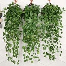 1Pcs Artificial Fake Hanging Vine Plant Leaves Garland Home Garden Wall Decoration Green