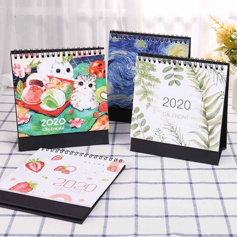 2020 Colorful Desktop Standing Paper Double Coil Calendar Memo Daily Schedule Table Calendar Planner Yearly Agenda Organizer C26