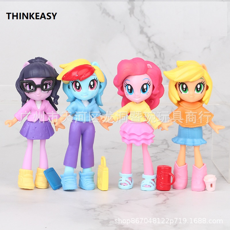 THINKEASY 10cm My Cute Pvc Horse Action Toy Figures Doll Earth Ponies Unicorn Alicorn Bat Figure Dolls for Girl