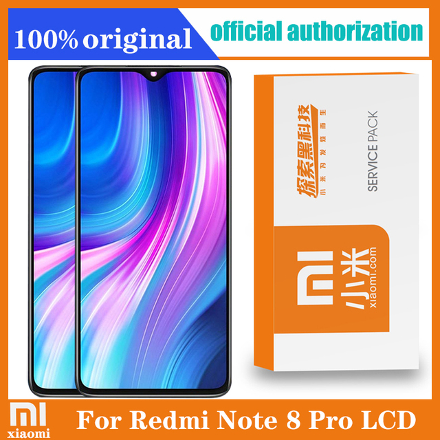 Original 6.53 Display with frame for Xiaomi Redmi Note 8 Pro LCD Display Screen Touch Digitizer Redmi Note8 Pro Repair Parts