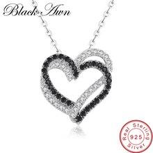 [Черный AWN] Настоящее серебряное ожерелье из 925 пробы, Женские Ювелирные изделия, подвески с черным и белым камнем в виде сердца P107