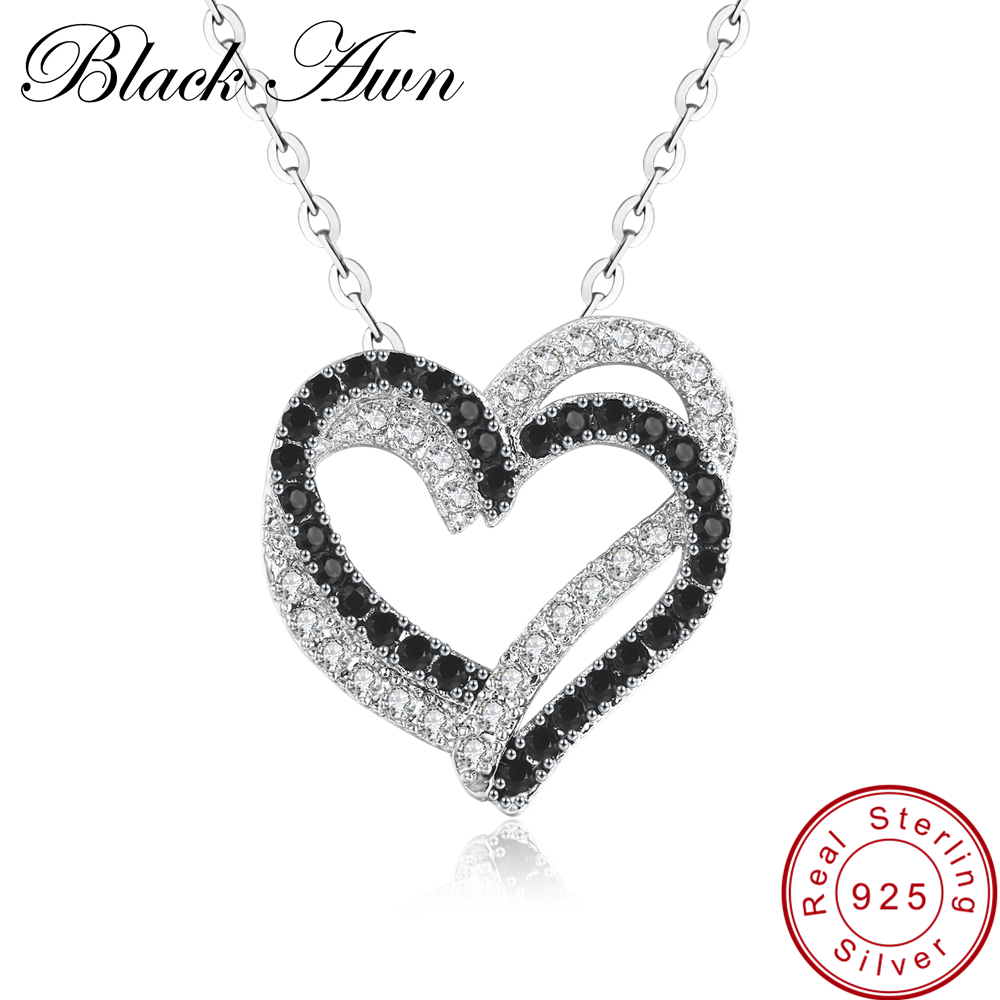 Fine Genuine 100% 925 Sterling Silver Necklace Women Jewelry Heart Black&White Stone Pendants P107