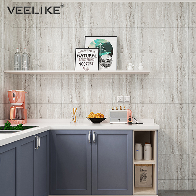 Retro Tiles Wall Stickers For Bathroom Kitchen Floor Wallpaper Self Adhesive Waterproof Ground Contact Paper DIY Home Decor Film
