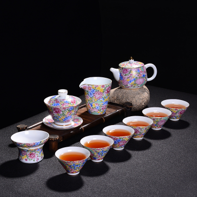 Jingdezhen Ceramic Pastel Colorful Tea Sets Blue And White Porcelain cup Teacups Sets Home Kung Fu Black Tea Pu-erh Teaware Gift