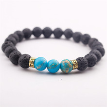 Drop Shipping Hot Selling Wholesale Lava Stone Men Natural Bead Bracelet Jewelry Women Gift Stretch Yoga
