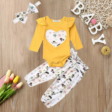 Newborn Baby Girl Clothes Romper Floral Pants Legging Trouser Headband Outfit