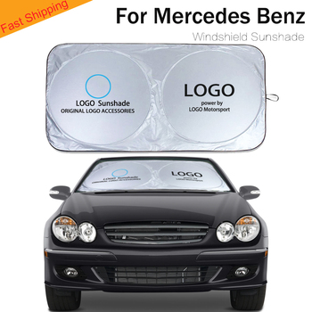цена на For car logo sunshade sun visor blind front windshield cover auto Accessories for Mercedes benz CLK CLS A B C series car shade