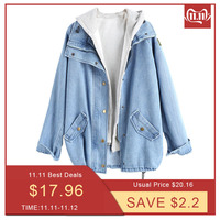 Bella Philosophy 2019 autumn winter Button Up Ladies Denim Women Jacket with Hooded 2 Piece 3XL Female Jean Plus Size Women Coat