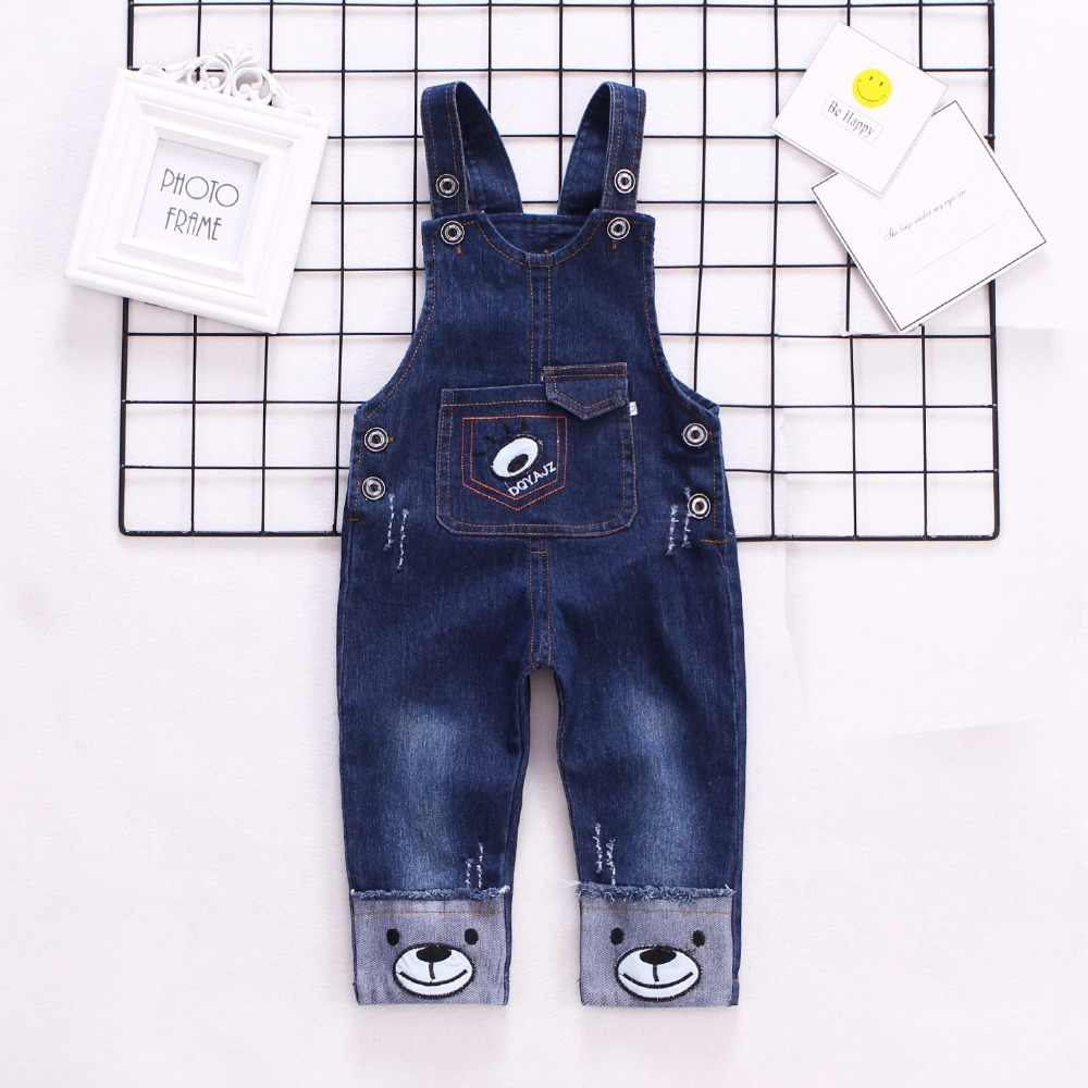 IENENS Infant Boy's Jeans Overalls Baby Cartoon Dungarees Toddler Long Pants Kids Boy Denim Jumpsuit Clothes Clothing Trousers