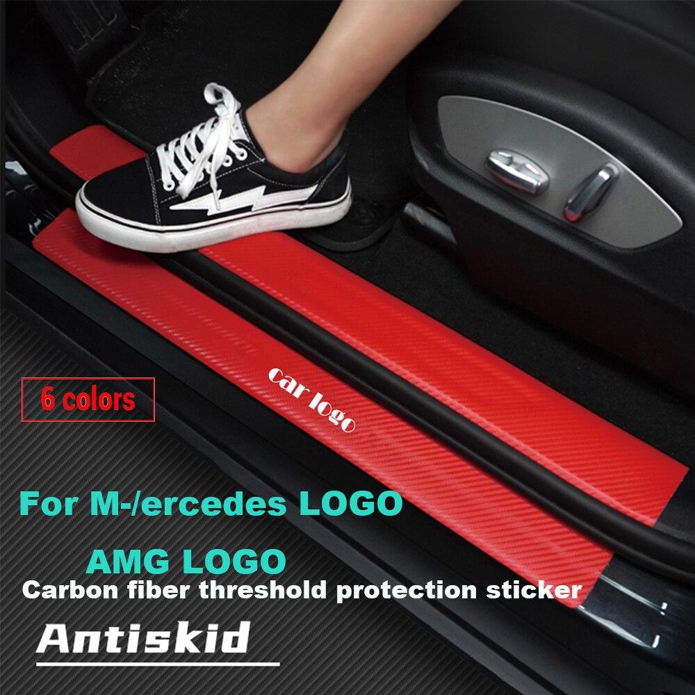 רכב 4pcs סיבי פחמן דלת אדן מגן מדבקות עבור מרצדס בנץ AMG W211 W203 W204 W124 GLK GLA C200 e200 C200L S350 S300