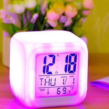 7 Color Multi-Function Bedroom Kids LED Change Digital Glowing Alarm Clock Thermometer Color Changable Electronic Clock image