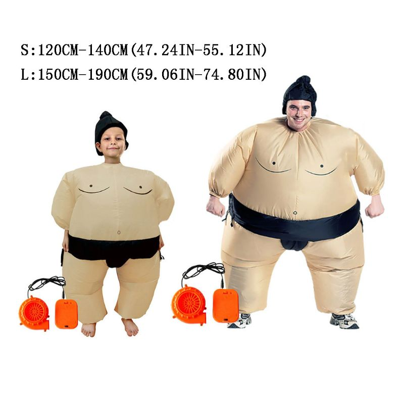 Sumo Wrestler Costume Inflatable Suit Blow Up Outfit Cosplay Halloween Carnival Party Dress For Girls Boys Man Woman Q6PD