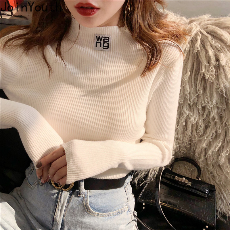 JoinYouth Half Turtleneck Pullovers Solid Appliques 2020 Autumn Winter All Match Women Sweaters Slim New Pull Femme Fashion J261
