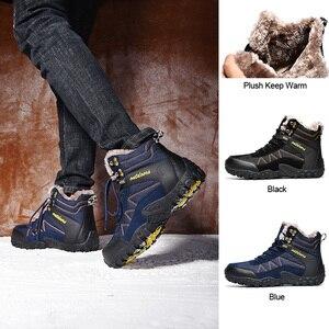 Image 5 - Мужские уличные ботинки SUROM, теплые водонепроницаемые Нескользящие Зимние ботильоны с толстой плюшевой и резиновой подошвой, рабочая безопасная зимняя обувь, 2019