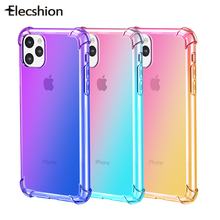 Rainbow Silicone Case Para iPhone 11 Pro Gradiente Limpar 11 Pro Max Macio TPU Caso Capa Para o iphone Shell de Coque para o iphone 11 Funda