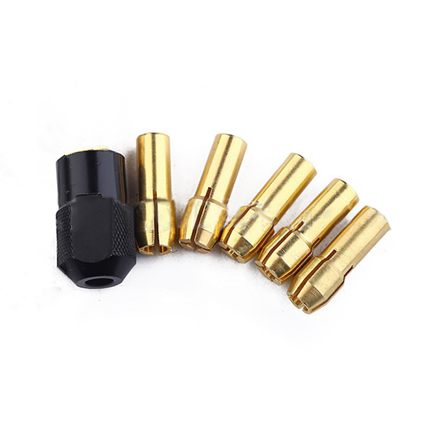 7pcs 1/1.6/2/2.4/3/3.2mm Electric Grinder Brass Chucks With Black Nut Power Tool For Motor Copper Core Power Tool Accessories