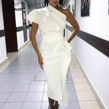 Xnxee на одно плечо вечерние платье для женщин асимметричное
