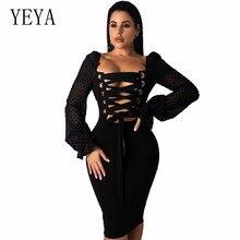 купить YEYA Women Autumn Dots Mesh Splicing Back Cross Lace-Up Chiffon Dress Puff Sleeve Plain Sexy Club Sheath Fit Solid Party Dress дешево