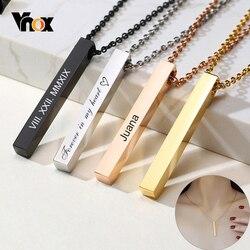 Vnox personnaliser 3D barre verticale colliers pour femmes en acier inoxydable gravé géométrique pendentif Simple minimaliste élégant bijoux