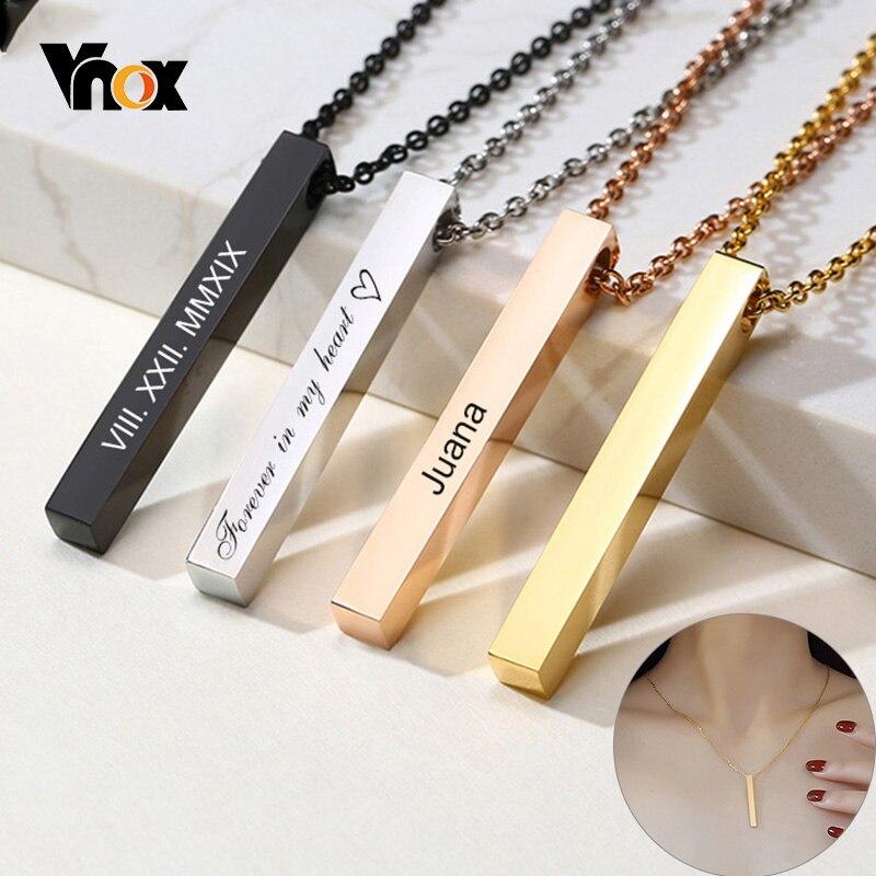 Vnox-collares de barra Vertical 3D para mujer, colgante geométrico grabado de acero inoxidable, joyería elegante minimalista Simple