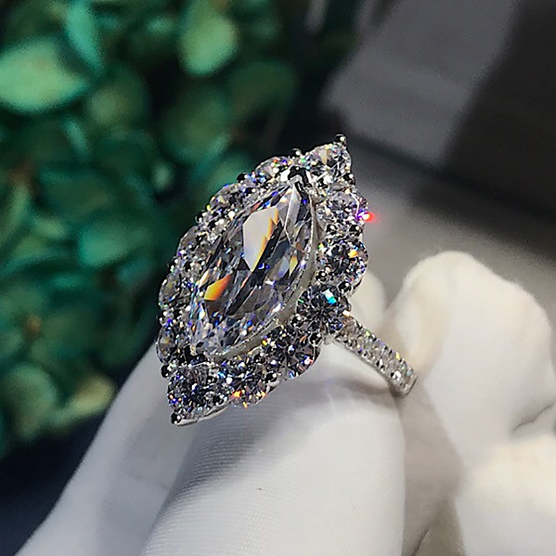 Real S925 Sterling Silver Jewelry 3 Carats Diamond Ring for Women FL Anillos De Bizuteria Gemstone Solid Silver 925 Jewelry Ring