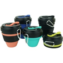 450ml Folding Silicone Cup Mugs Collapsible Coffee Camping Cup With Straw Lid Sport Bottle Hook Expandable Scald-Proof Reusable