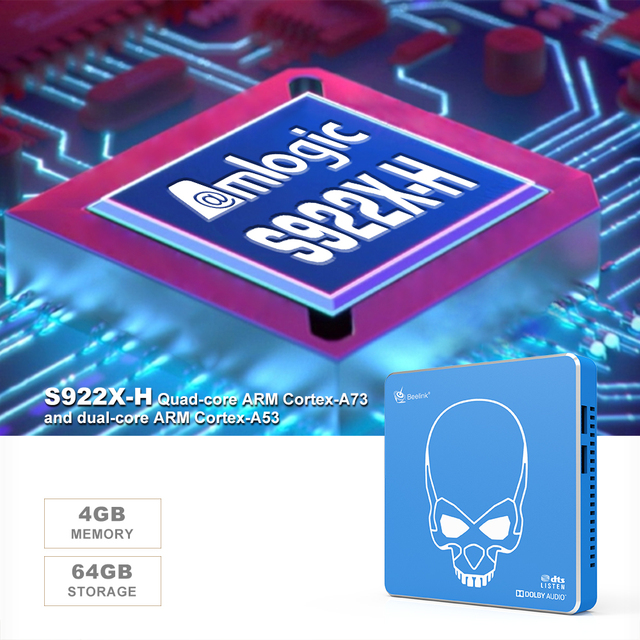 Beelink GT-rey Pro Amlogic S922X-H Android 9,0 Dispositivo de Tv inteligente DDR4 4GB 64GB 2,4G 5,8G Wifi 1000M 4K Set Top caja del ugoos AM6 Plus