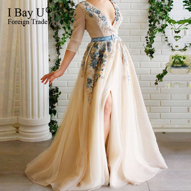Vestidos Elegantes Lace Mesh V-neck Beading Evening Dresses Long Opening Design Party Dress