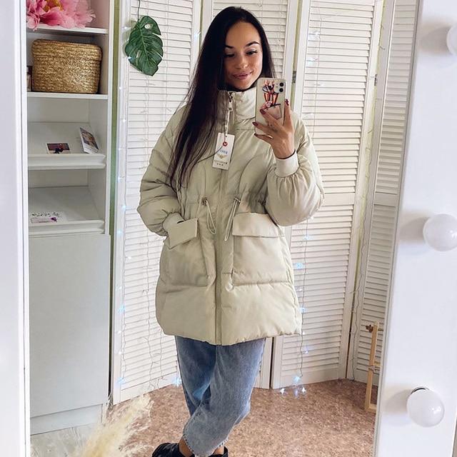 2021 New Winter women parkas fashion shiny fabric thicken windproof warm jackets coat outwear snow wear jacket S-XL 3