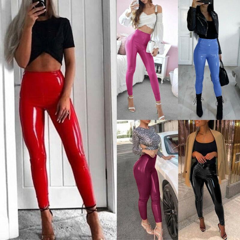 WOMENS BLACK RED WET LEATHER LOOK HIGH WAIST FULL LENGTH LEGGINGS PANTS S//M