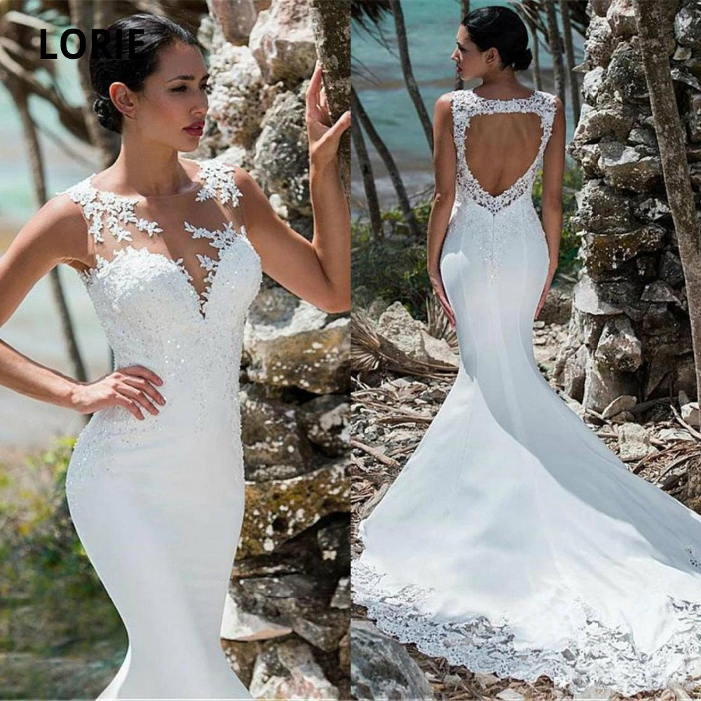 LORIE Elegant Lace Appliques With Sequined  Wedding Dresses Mermaid Sleeveless Open Back Bridal Gowns Princess Wedding Gowns