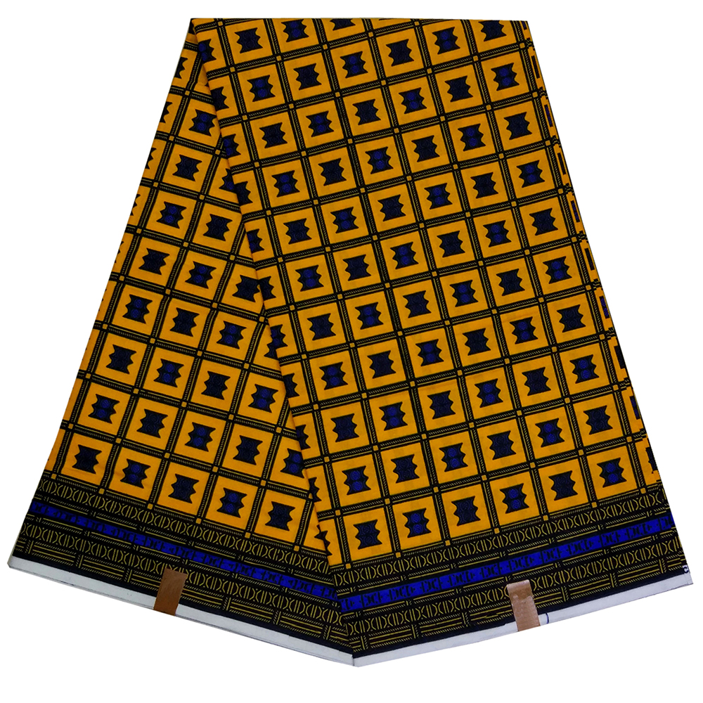 100% Cotton African Fabric African Yellow Stars Veritable Dutch Wax Color Fabric For Dress