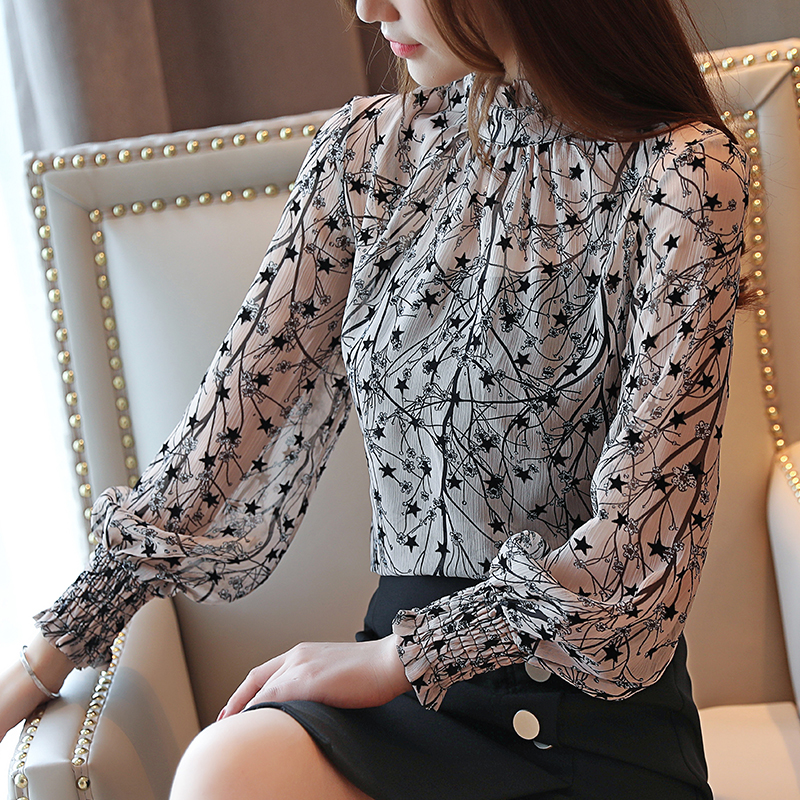 2019 Autumn New Arrival Elegant Stand Collar Two Pieces Flower Printed Long Sleeve Woman Chiffon Blouse