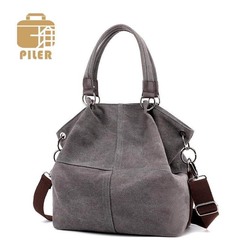 2016 Women Canvas Bucket Bag Designer Brand Vintage Fashion Messenger Hobos Casual Shoulder Handbags