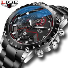 цена на Relogio Masculino LIGE Top Brand Luxury Mens Watch Stainless Steel Sport Waterproof Men Quartz Watches Men Army Military Watch