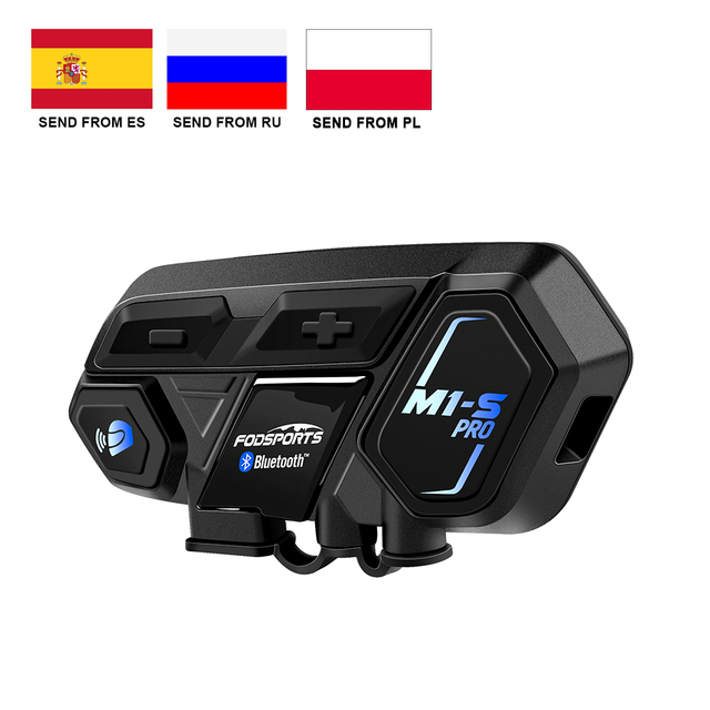 Fodsports M1 S Pro kask interkom kulaklık motosiklet su geçirmez interkom Bluetooth interkom 8 binici 2000M Intercomunicador