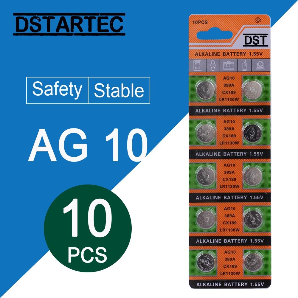 10pcs/card 30mAh 1.55V AG10 LR1130 SR54 389 189  SR1130 D189 LR54 Button Batteries For Watch Toys Remote Etc; Cell Coin Battery