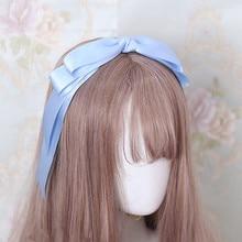 Лолита двойные большие ленты-бантики для волос для женщин модная Милая повязка на голову бант для волос для девочек аксессуары для волос тюрбан