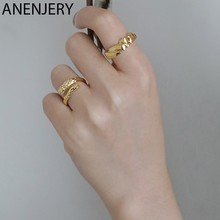 ANENJERY Vintage 925 Sterling Silver superficie irregolare geometrica anello Color oro zircone anello aperto per le donne gioielli regalo S-R795