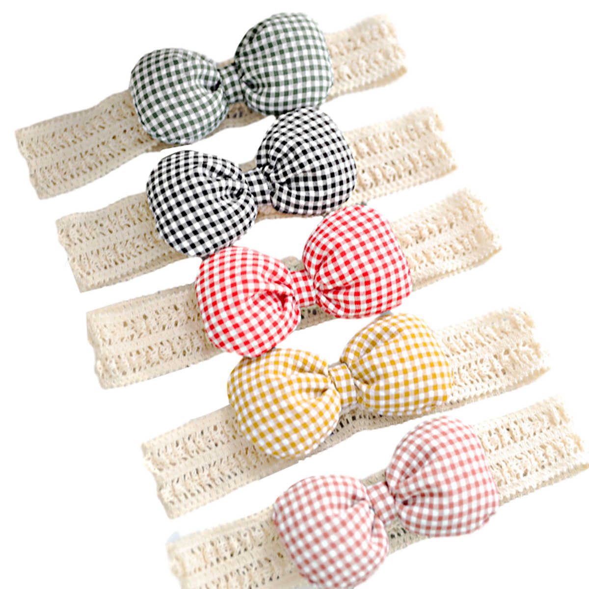 Pudcoco Newborn Baby Girls Headband Ribbon Elastic Baby Headdress Kids Hair Band Girl Bow Knot Plaid Check Headwear