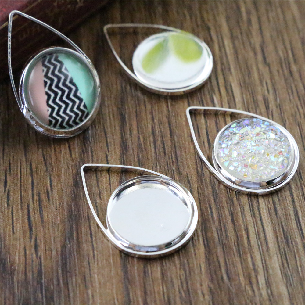 20pcs 12mm Inner Size Silver Plated Brass Material Simple Style Cabochon Base Cameo Setting Charms Pendant Tray (A1-36)