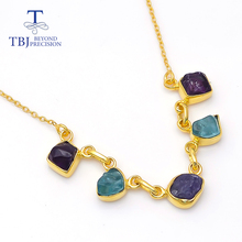 2020 New gemstone Rough necklace handmade mix colorful tanzanite gemstone pendant 925 silver unique