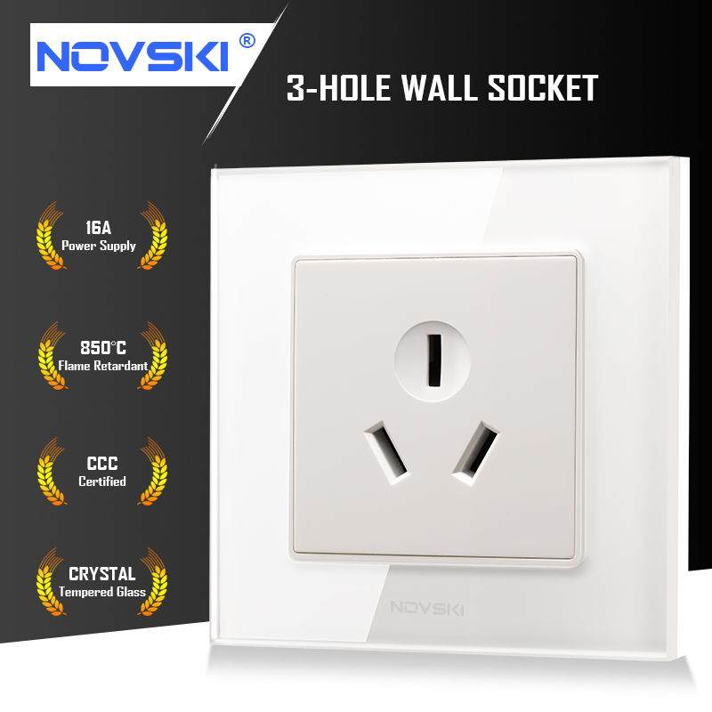 NOVSKI GB 16A 3-Hole Wall Socket German Bayer Flame Retardant Material Tempered Glass Panel 86*86  220-250V China CCC Certified