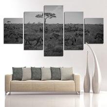5 панелей Зебра стадо в сером ландшафте трава украшение живопись